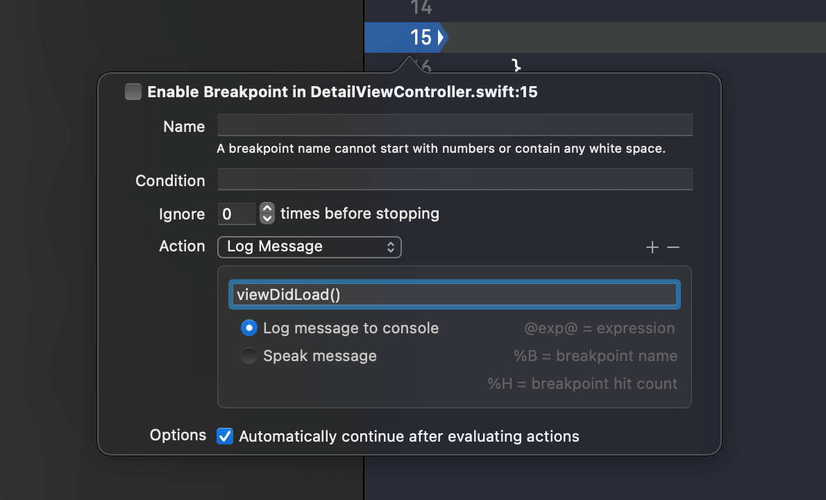 Better print debugging with Xcode breakpoints